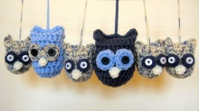 Blue Owl Family - made from vintage reclaimed yarn- available in my shop