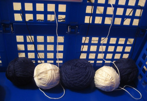 Lengthways balls of yarn kept tidy in a crate