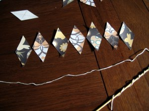 Cutting out and arranging the bunting pieces