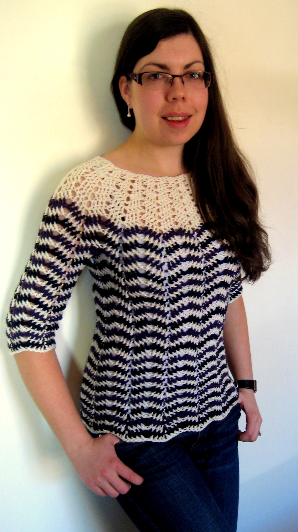 Free Crochet Patterns Jumpers : Chevron stripes 3-season sweater Make My Day Creative