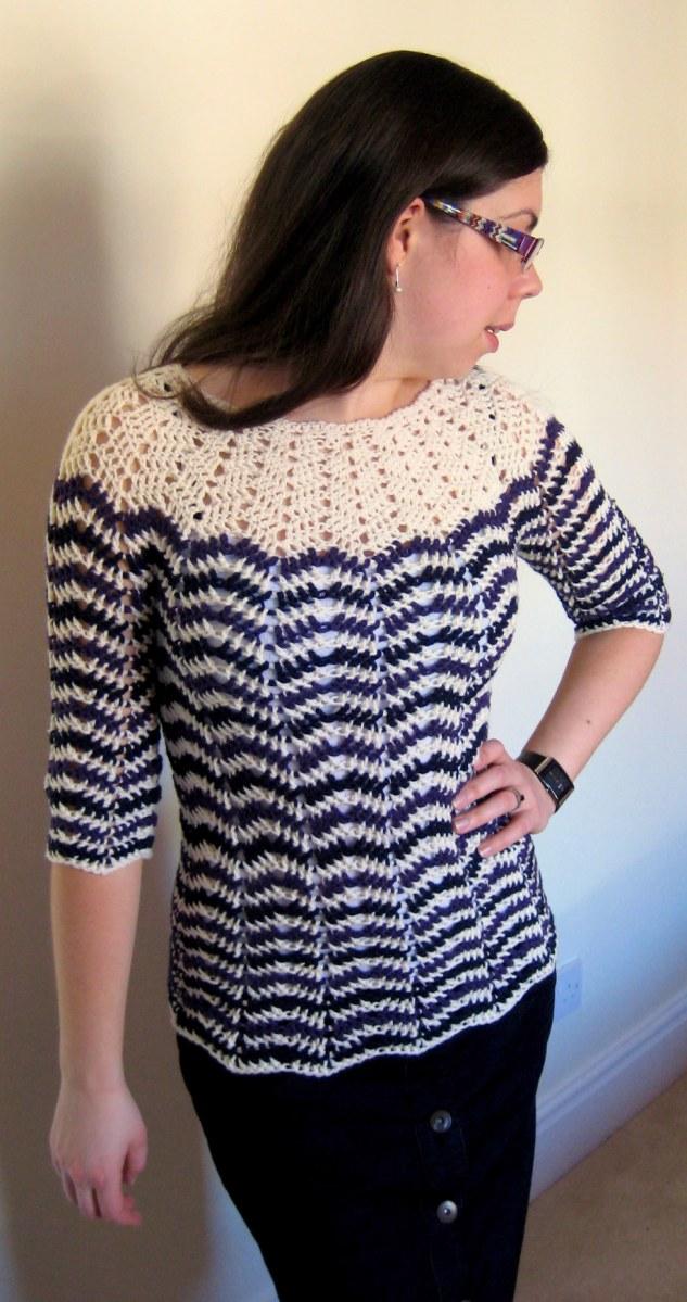 Chevron stripes 3-season sweater