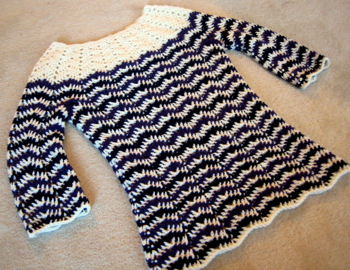 Chevron stripes sweater has internal shaping at waist and hips.  How to shape stitch patterns by Make My Day Creative.