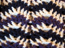 Decrease row (purple) in chevron stitch pattern.  How to shape crochet stitch patterns by Make My Day Creative