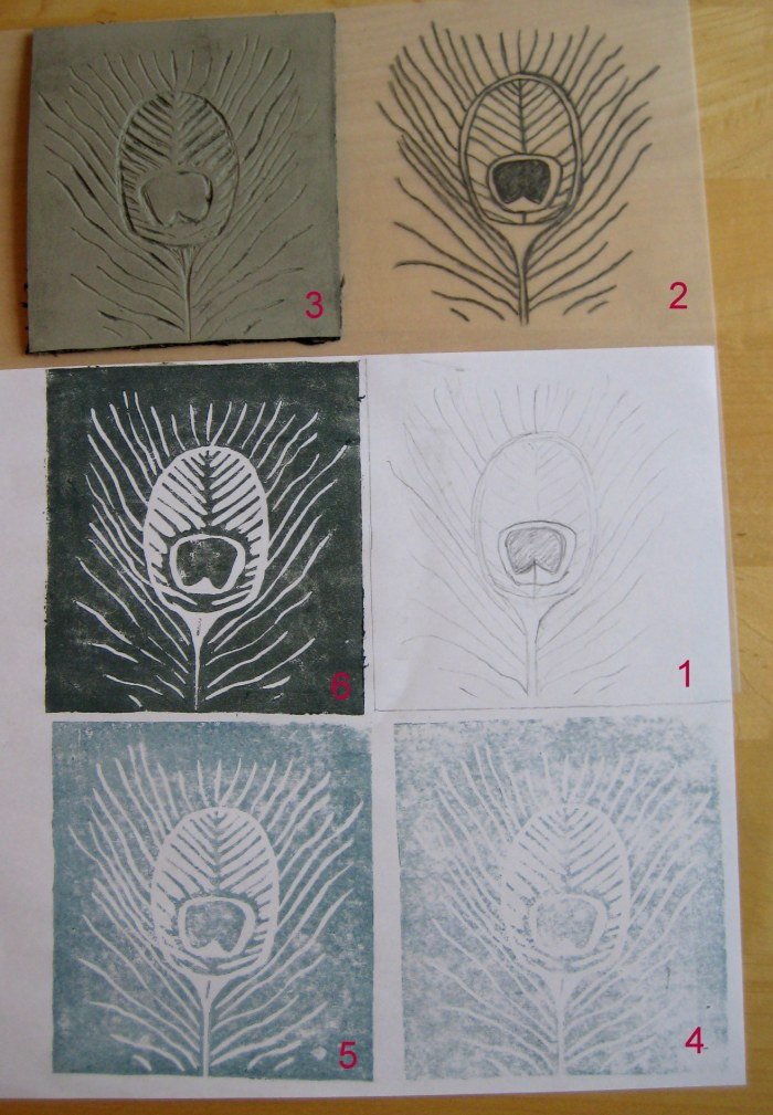 1: My sketch, 2: Tracing design for transfer to lino, 3: Linocut, 4: First print always comes out fainty, 5&6: Trial prints