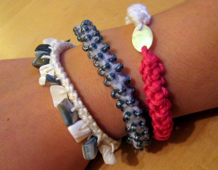 Bracelets made with lobster stitch cord