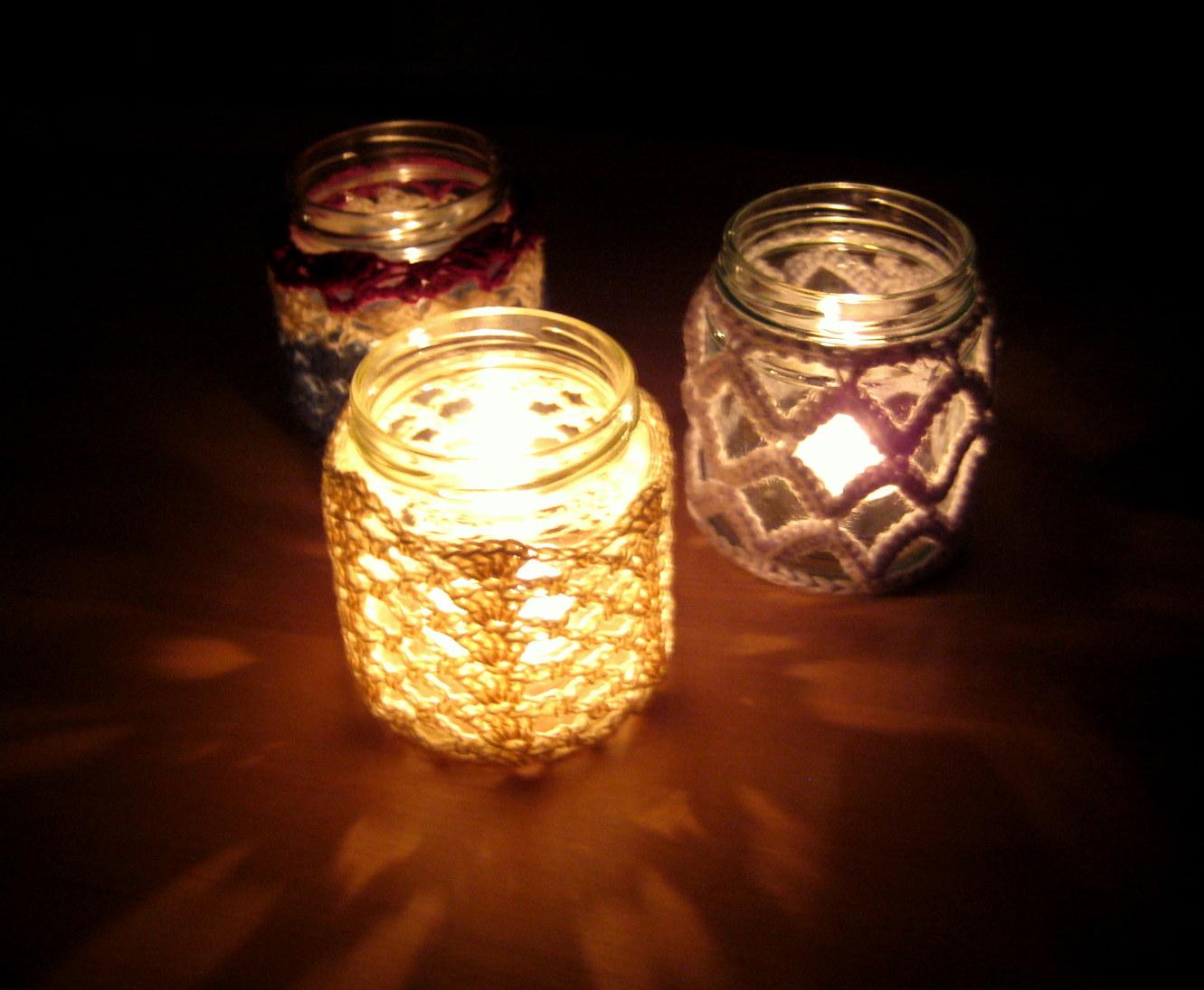 Crochet Jar Cover IIILattice Effect Make My Day Creative