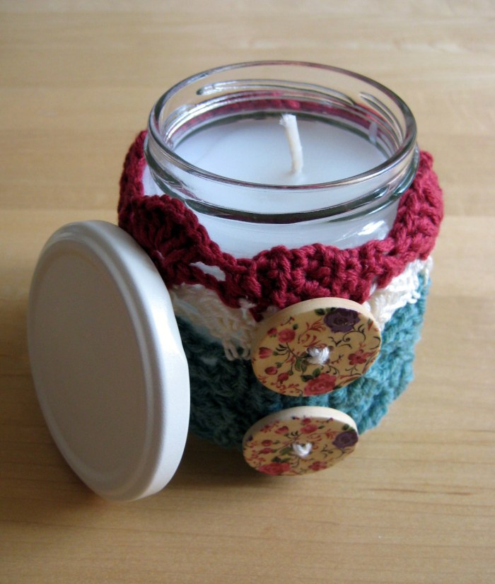 Spilt Shells Crochet Jar Candle with lid