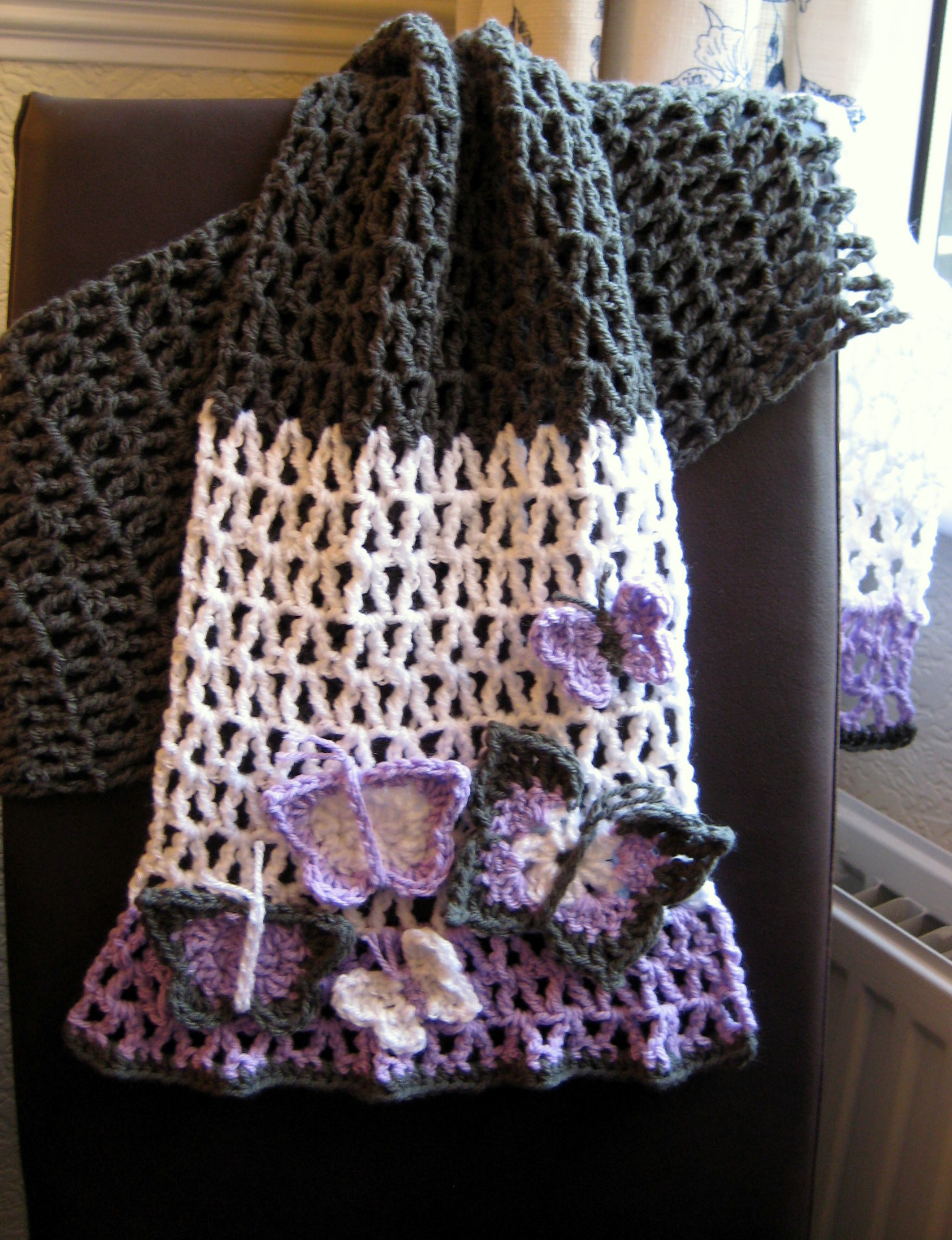 Free Crochet Pattern For Butterfly Shawl : Scarf and Cowl Patterns Make My Day Creative