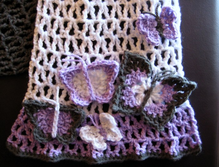 Simple crochet scarf with butterflies