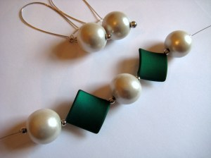 Green and White wooden and matt acrylic beads