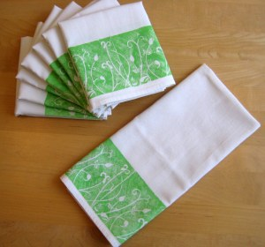 Lino printed tea towels
