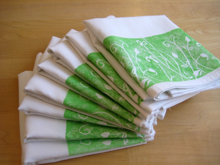 Lino printed tea towels - great gifts!