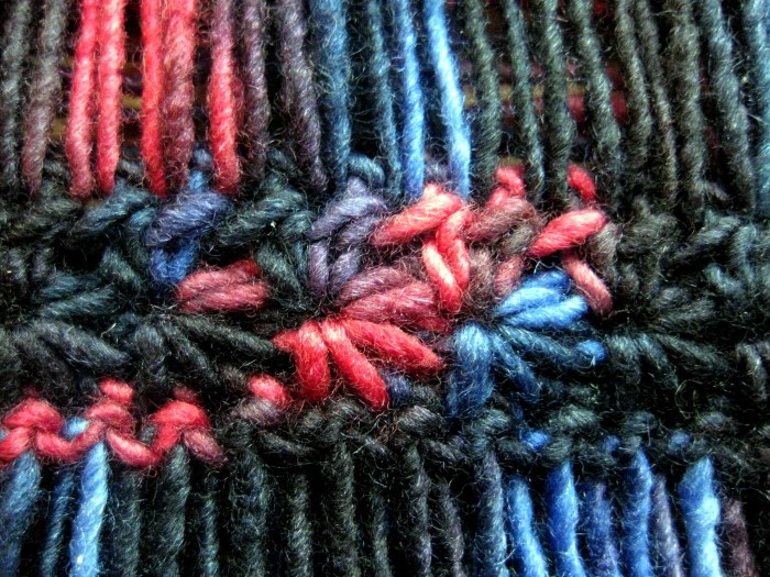 Close up of star stitch with trails