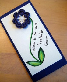 Crochet Flower with Hand Painted Card