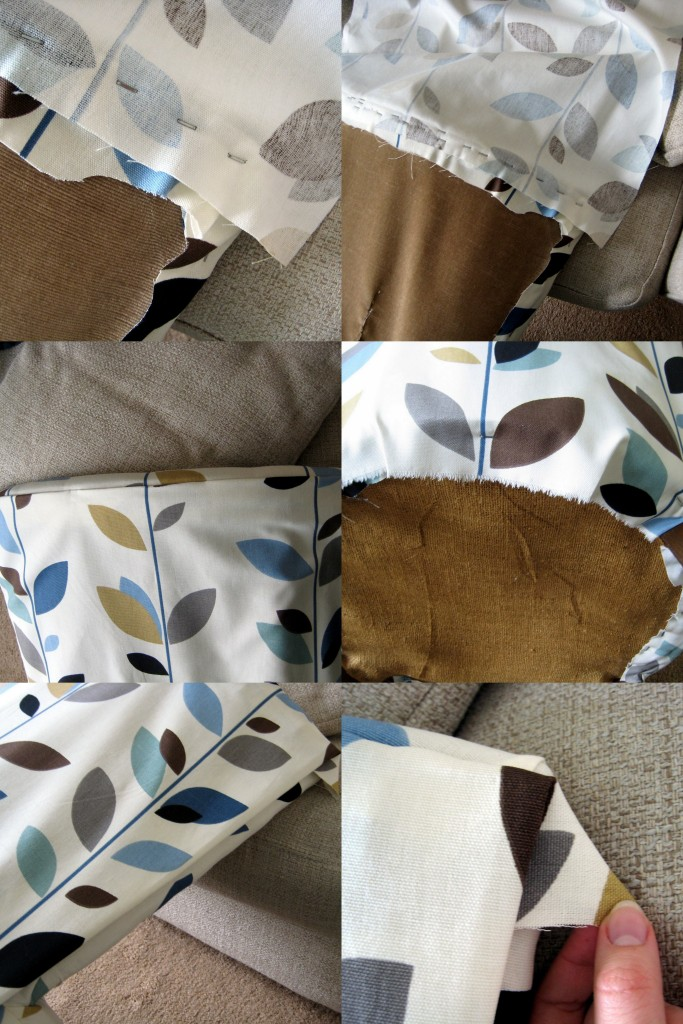 1. Stapling the back on the reverse, 3. Flipping the fabric back over, 4. Staples on the bottom, 5. Folding the edges under, 6. Trimming the corners of excess fabric