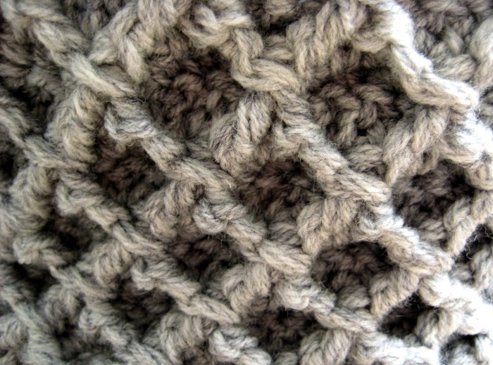 Diamond Trellis Stitch Pattern - diagonal post stitches add structure to crochet fabric