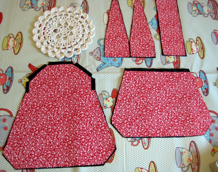 The cut out pieces for the bag