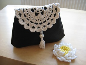 Leather & Doily Clutch