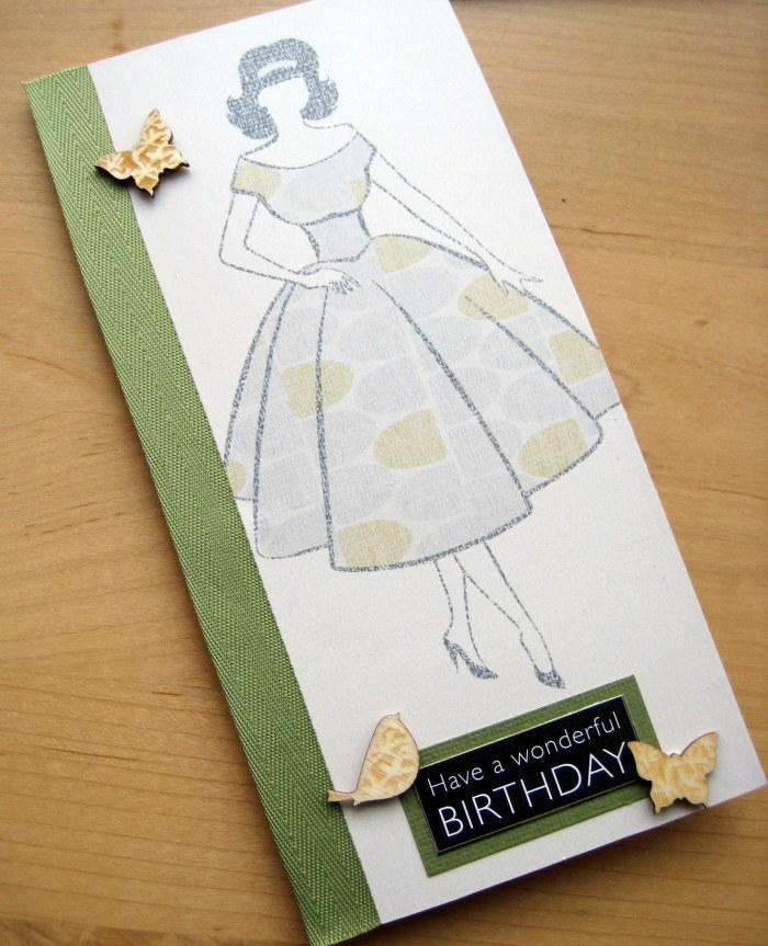 Vintage lady wallpaper card with embellishments