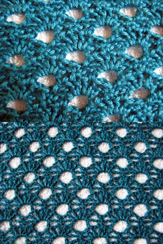 Multiplicity Shawl Blocking (before and after)