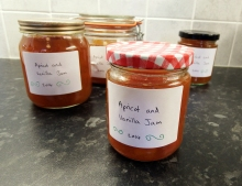 Apricot and Vanilla Jam in assorted jars