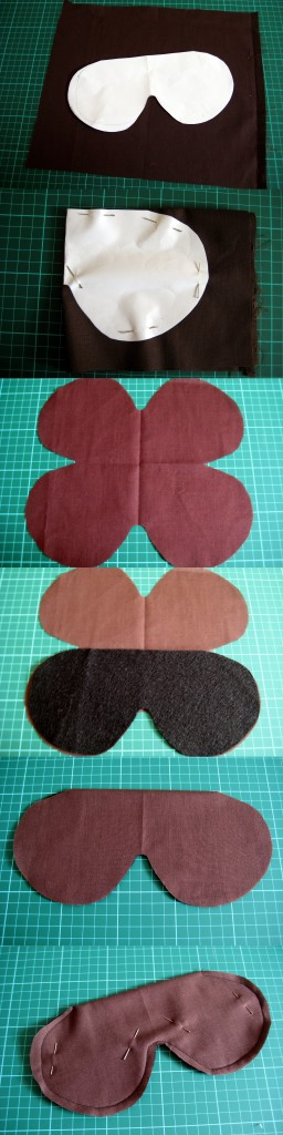 How to make padded eye masks - cutting out the pieces