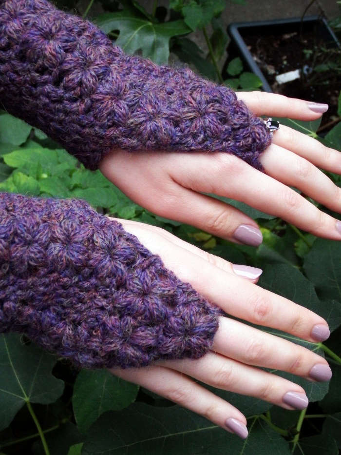 Flower Trails Fingerless Gloves Crochet Pattern by Make My Day Creative - uses chainette type yarn
