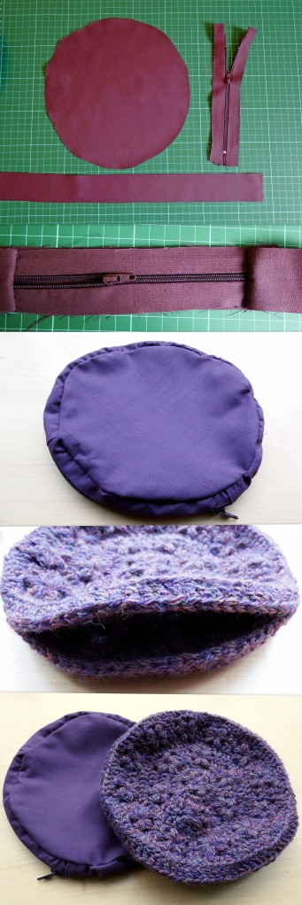 Lining for circular crochet pouch