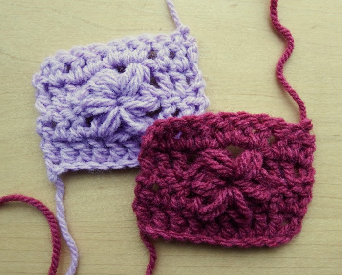 Finished sample pieces - puff stitch flower video tutorial on makemydaycreative.com