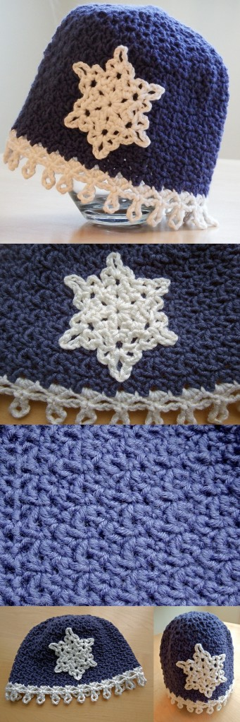 Icicles Baby Hat Free Crochet Pattern with snowflake