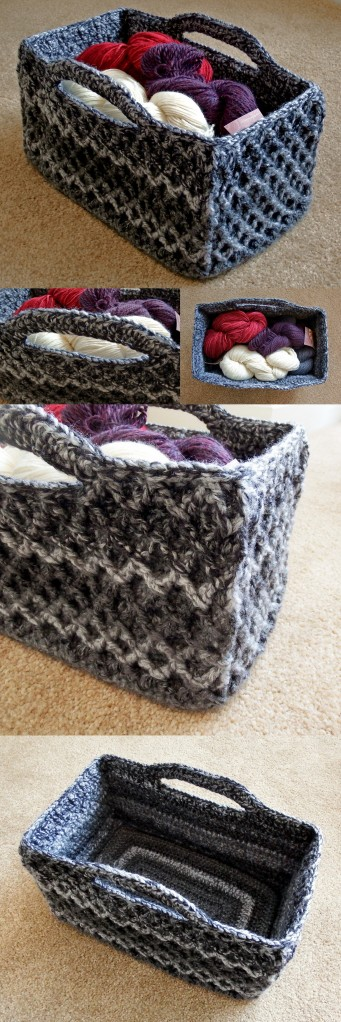 Rectangular Diamond Trellis Basket - Free customisable crochet pattern with video stitch tutorial!