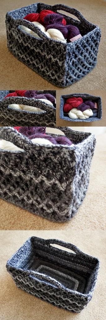 Rectangular Diamond Trellis Basket - Free customisable crochet pattern with video stitch tutorial!