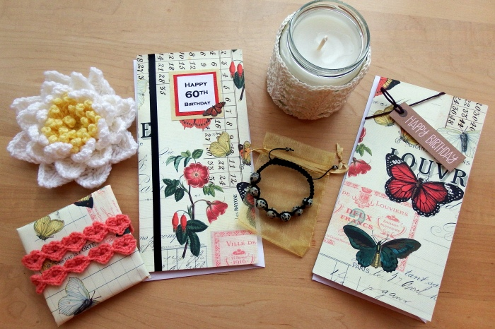 Butterfly cards, heart strings gift wrapping, Shamballa bracelets, Crochet Water Lily and Crochet Shells and Lace Jar Cover