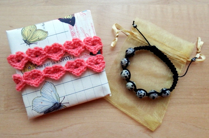 Crochet heart strings gift wrapping and handmade Shamballa bracelet