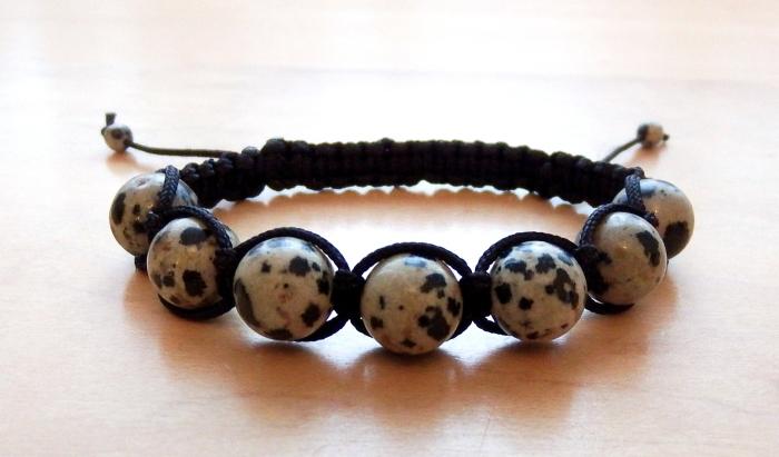 Dalmatian Jasper Beaded Shamballa Bracelet