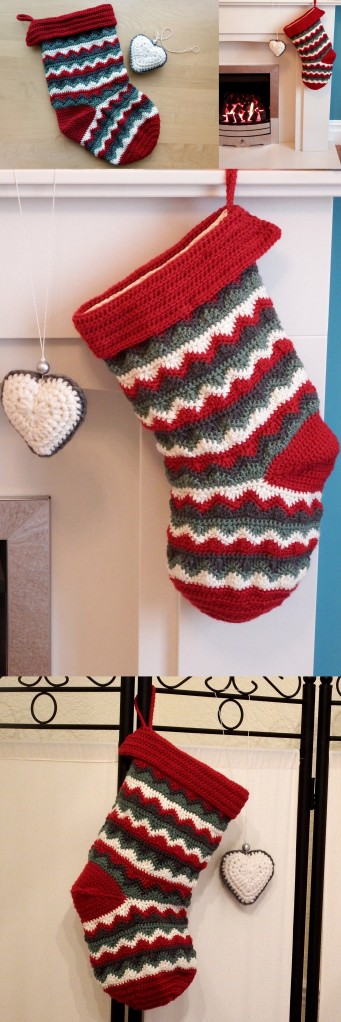 Home made zigzag Christmas Stocking - free crochet pattern!