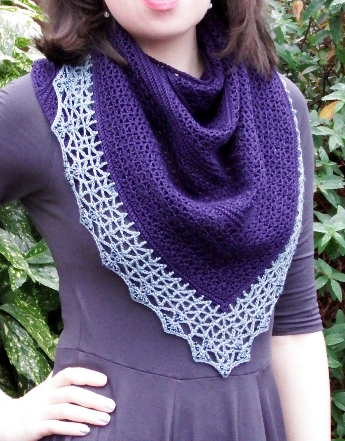 Atlantic lace shawl with beaded crochet border- free pattern