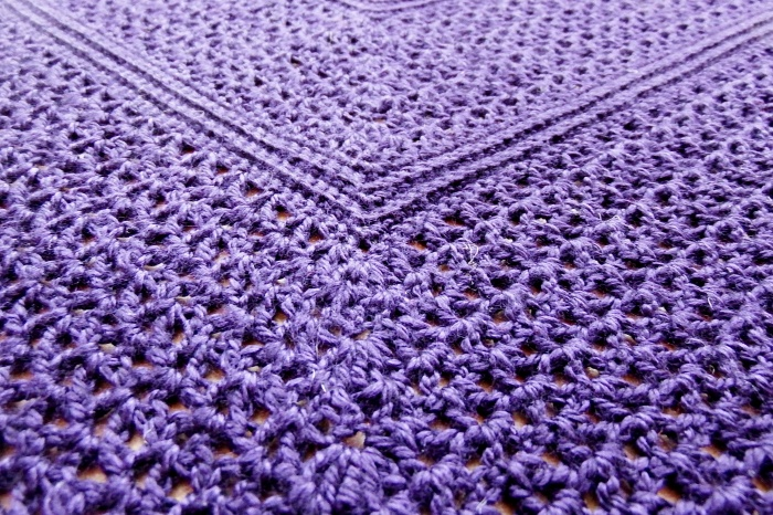 Main stitch pattern on Atlantic lace shawl with beaded crochet border- free pattern