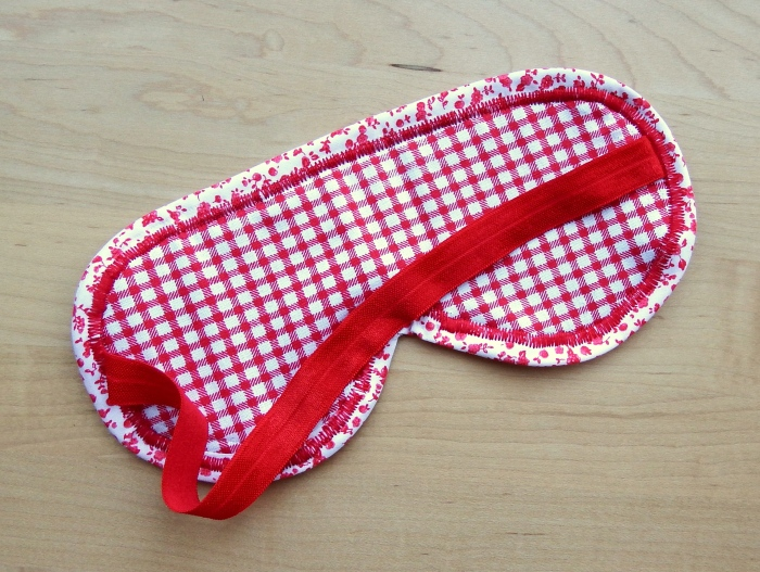 Make a cute padded eye mask using gingham and floral fabrics
