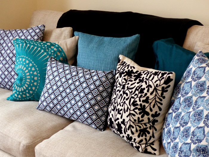 Mix up hand made and shop bought cushions