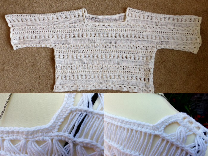 Adding the edgings to the sleeves and neckline - Indian Summer Lace Top