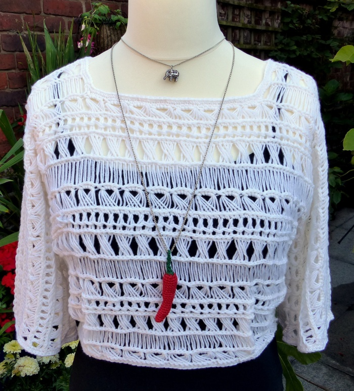 The block colour shows of the fancy stitchwork - Indian Summer Lace Top - free crochet pattern from Make My Day Creative