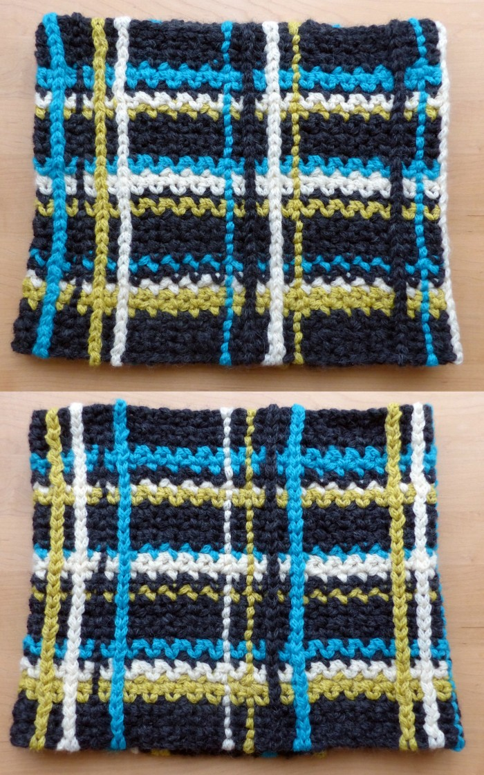 """Front"" and ""Reverse"" of Plaid Cowl - A super easy free crochet pattern from Make My Day Creative"