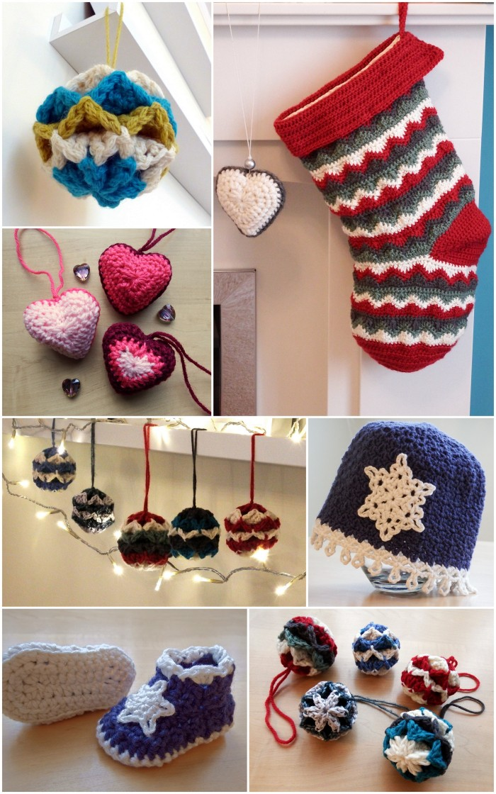 Christmas Crochet - free  patterns for baubles, stockings and baby sets from Make My Day Creative
