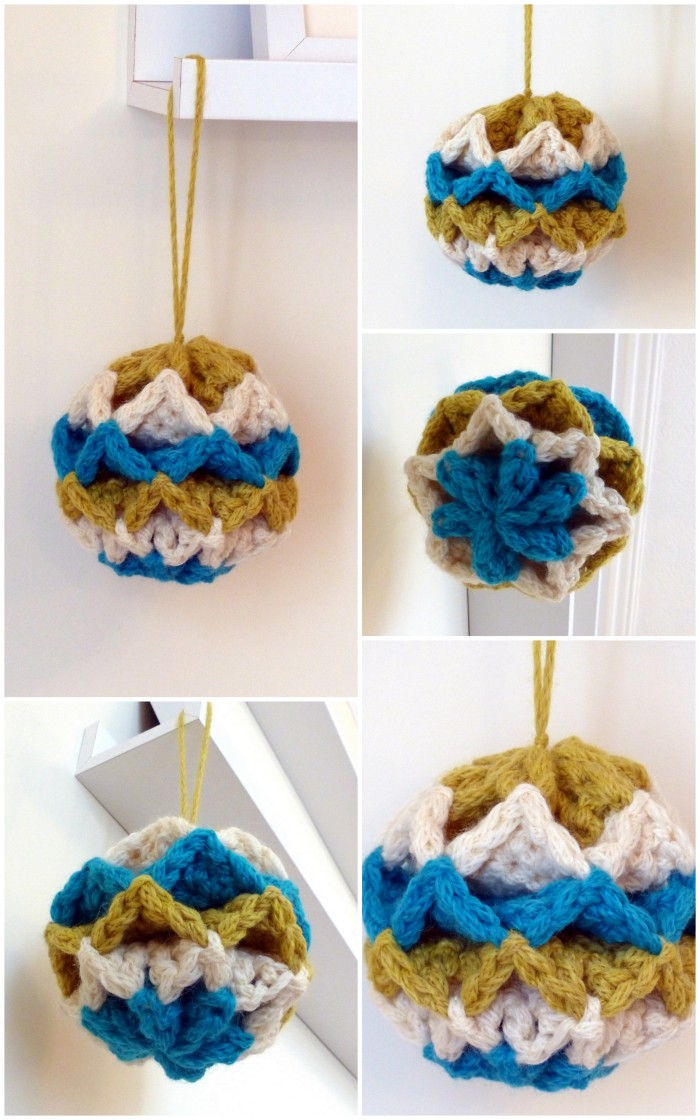 Simple Origami Baubles - free crochet pattern with video from Make My Day Creative