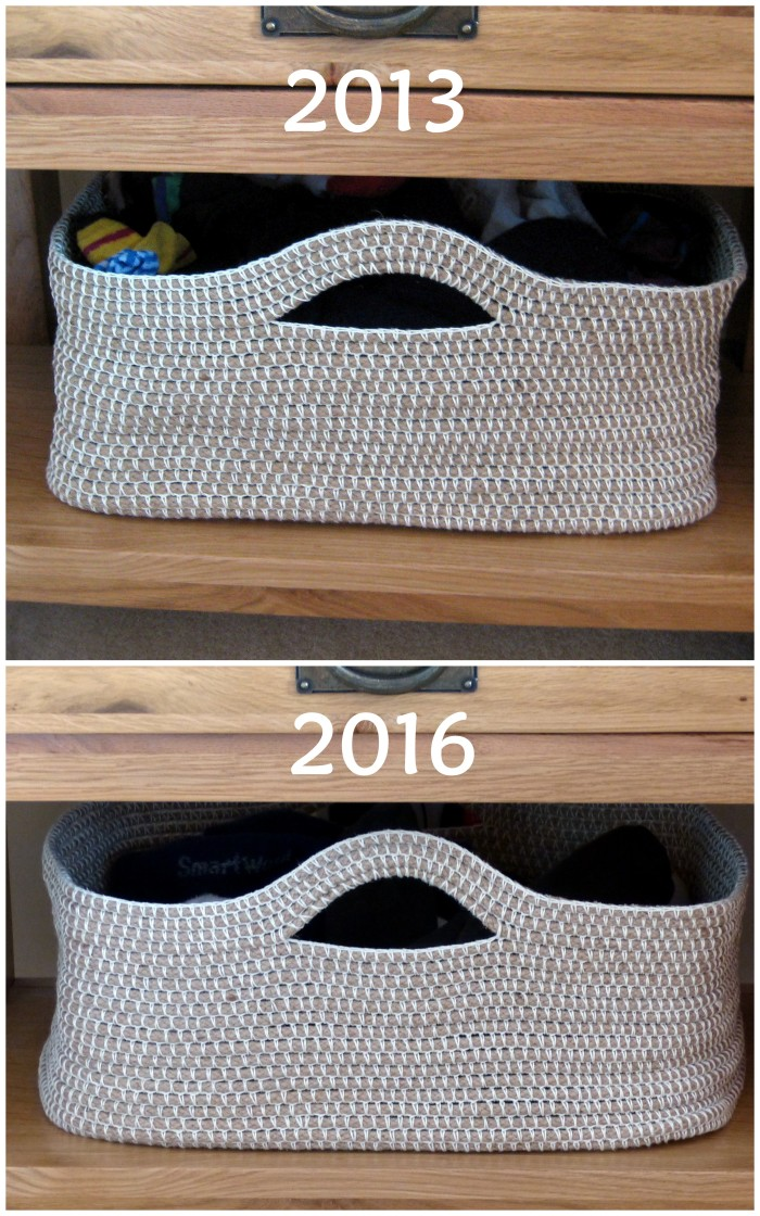 Crochet Rope Basket 3 years later - free pattern by Make My Day Creative