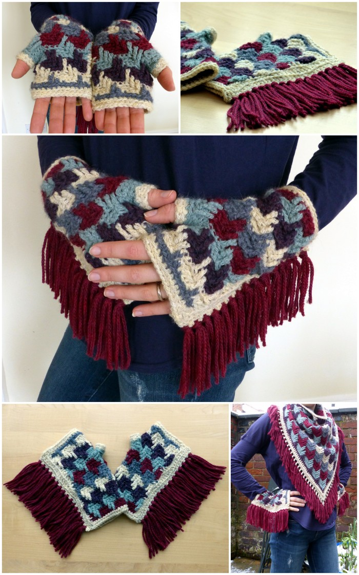 Arrow Tails Fingerless Gloves and Shawl - Free crochet patterns from Make My Day Creative