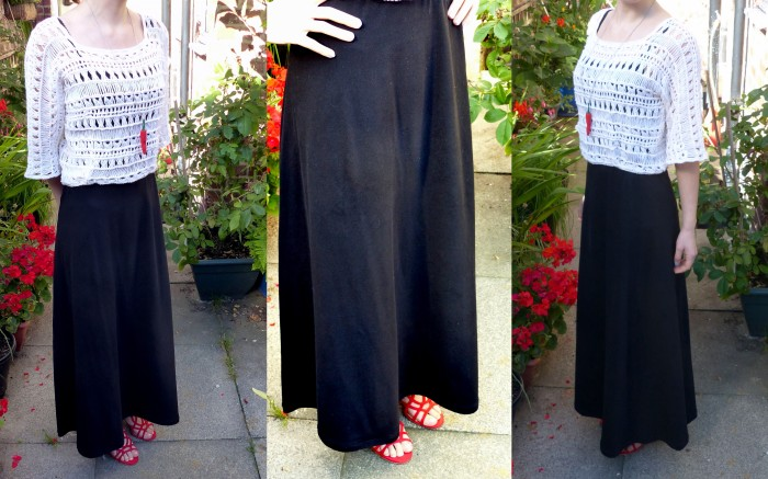 Sewing the Basics: Black maxi skirt worn with Indina Summer lace top - free crochet pattern